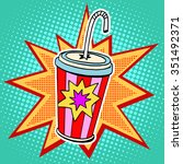 cola paper cup straw fast food...   Shutterstock .eps vector #351492371