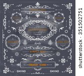 set of vintage decorations... | Shutterstock .eps vector #351502751