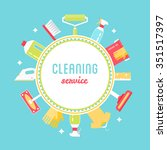 cleaning service sign  tools... | Shutterstock .eps vector #351517397