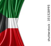 kuwait flag of silk with... | Shutterstock . vector #351528995