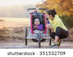 beautiful young mother with her ... | Shutterstock . vector #351532709