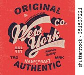 new york vintage tee print... | Shutterstock .eps vector #351537221