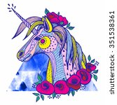 boho unicorn. hand drawn raster ... | Shutterstock . vector #351538361