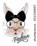 Stock vector watercolor rabbit illustration for apparel 351539897