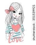 beautiful girl with a heart. | Shutterstock .eps vector #351539921