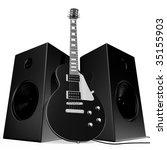 black rock guitar and speakers... | Shutterstock . vector #35155903