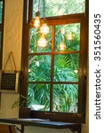 wooden windows with