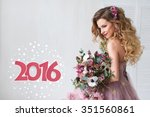 young happy bride with flower... | Shutterstock . vector #351560861