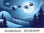 peaceful winter forest at night ... | Shutterstock .eps vector #351563939