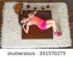 glamour beautiful long hairs... | Shutterstock . vector #351570275