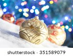 christmas baubles on snow and... | Shutterstock . vector #351589079