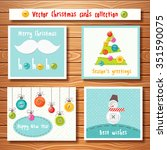 christmas cards collection with ... | Shutterstock .eps vector #351590075