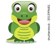 crocodile cartoon   happy green ... | Shutterstock .eps vector #351599681