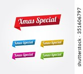 xmas special long shadow labels | Shutterstock .eps vector #351606797