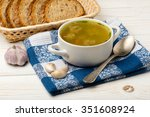 soup with meatballs in a white... | Shutterstock . vector #351608924