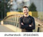 portrait of male runner on... | Shutterstock . vector #351610601