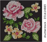 cross stitch roses | Shutterstock .eps vector #351614885