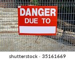 danger sign with blank field...   Shutterstock . vector #35161669