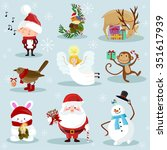 christmas and new year holiday... | Shutterstock .eps vector #351617939