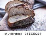 sliced artisan bread loaf on...   Shutterstock . vector #351620219