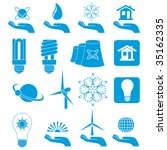 Different forms of blue icons, illustration - stock photo