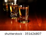 glasses of whiskey shots on... | Shutterstock . vector #351626807
