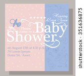 baby shower invitation card | Shutterstock .eps vector #351636875