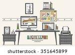 work place of a businessman... | Shutterstock .eps vector #351645899