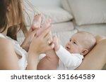 beautiful mother portrait... | Shutterstock . vector #351664589