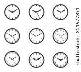 clock icon set   outline...   Shutterstock .eps vector #351677891