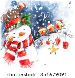Watercolor Snowman And Cute...