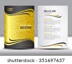 gold annual report vector... | Shutterstock .eps vector #351697637