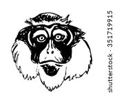 graphic image of a monkey's head   Shutterstock .eps vector #351719915