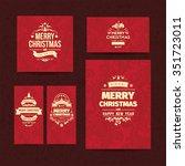 set of five elegant red  vector ... | Shutterstock .eps vector #351723011