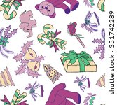 seamless pattern with christmas ... | Shutterstock .eps vector #351742289