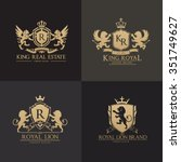 lion crests logo set. king... | Shutterstock .eps vector #351749627
