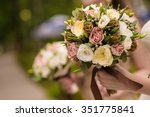 bride and bridesmaids are... | Shutterstock . vector #351775841