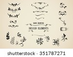 vector hand draw vintage floral ... | Shutterstock .eps vector #351787271