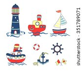cute nautical cartoon set.... | Shutterstock .eps vector #351789071
