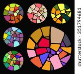 set of bright mosaic design... | Shutterstock .eps vector #351794681