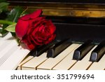 red rose with notes paper on... | Shutterstock . vector #351799694