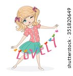 cute girl vector t shirt print... | Shutterstock .eps vector #351820649