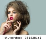 closeup view of one attractive... | Shutterstock . vector #351828161