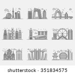 icons chinese major cities flat ... | Shutterstock . vector #351834575