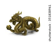 Golden Chinese Dragon Statue O...