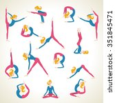 yoga pose asana set vector... | Shutterstock .eps vector #351845471