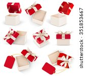 gift box set with bow and label ... | Shutterstock .eps vector #351853667