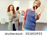 young artists in gallery... | Shutterstock . vector #351853955