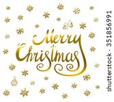 merry christmas   gold... | Shutterstock .eps vector #351856991