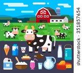 happy farm   rural landscape... | Shutterstock .eps vector #351857654